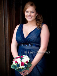 bridesmaid wearing beautiful blue dress for a wedding
