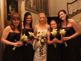 bride and bridesmaids with wedding bouquets at walton hall