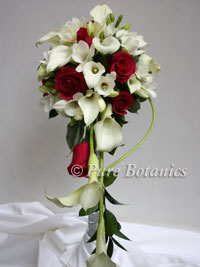 brides shower bouquet made from calla lilies and roses