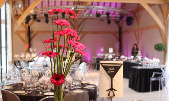 pink wedding centrepieces made with gerberas