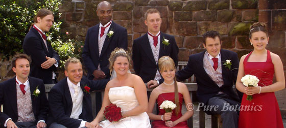 Coventry cathedral wedding including bride, bridesmaids and men with beautiful buttonholes