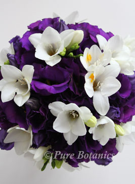 dark purple lisianthus and ivory freesia bridal bouquet, Alvaston Manor, Stratford upon Avon