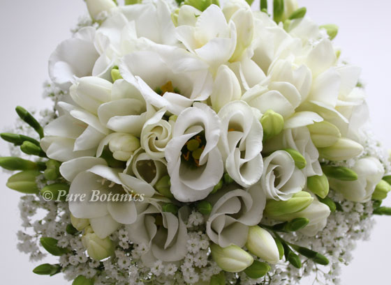 Wedding bouquet made with freesias, gypsophila and lisianthus