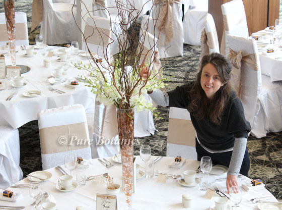 White orchid wedding centrepieces at Ashorne Hill, Warwickshire