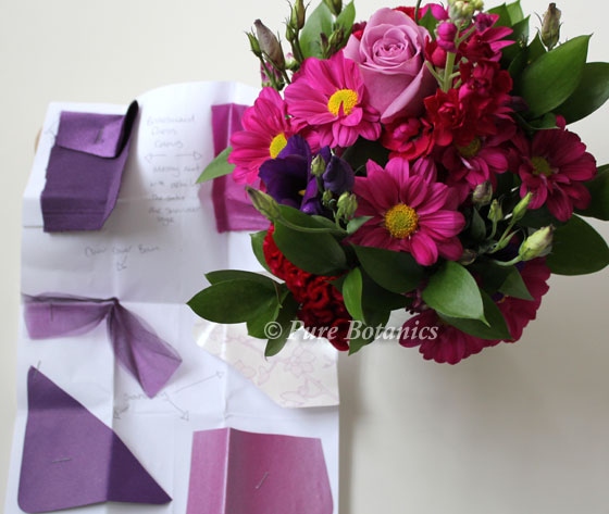 pink wedding flowers shown next to colour swatches