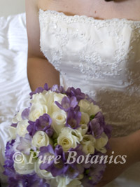 purple freesia in wedding bouquet