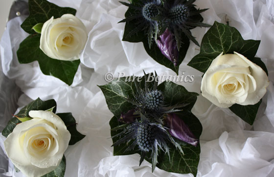 Rose and thistle buttonholes ready for delivery on morning of wedding