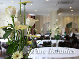 Tall table centerpiece decorations for wedding at Welcombe Hotel, Stratford upon Avon