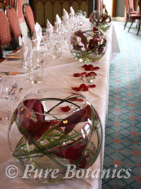 Top table decoration for a wedding at Studley Castle, Warwickshire