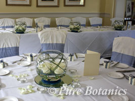 Wedding reception decorations in blue and white