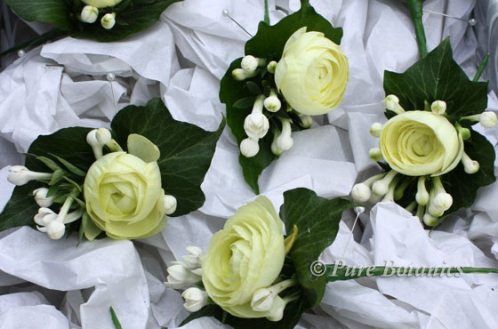 white ranunculus buttonholes in box ready for wedding