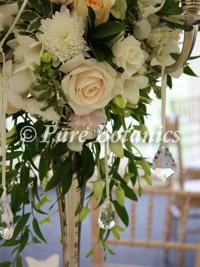 Close up of wedding candelabra flowers