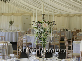 wedding candelabras at Wethele Manor, Leamington Spa