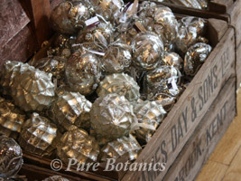 silver christmas baubles with a vintage look