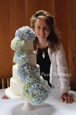 Blue hydrangea's cascading down a four tier wedding cake.
