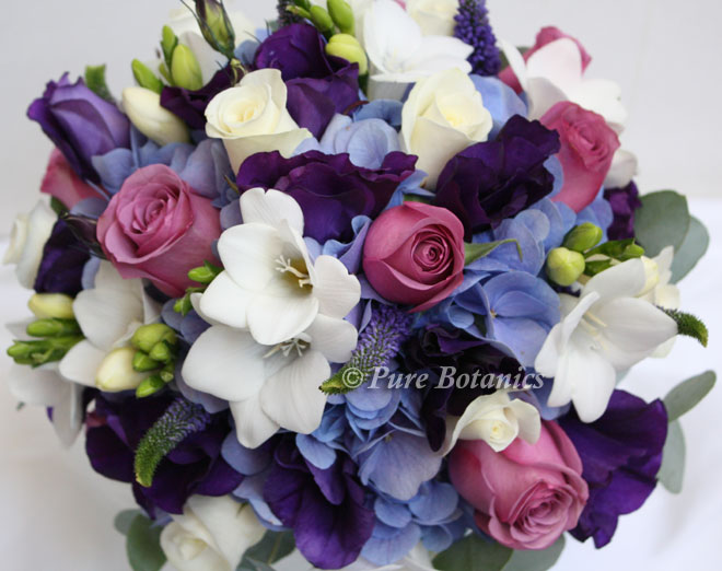 Blue and purple wedding bouquet.