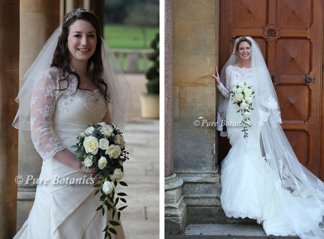 Brides holding their shower bouquets outside Walton Hall.