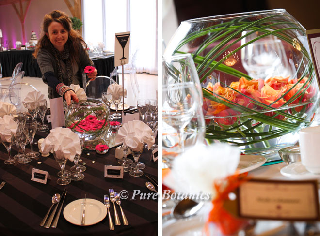 Large goldfish bowl centrepieces featuring gerberas and roses.