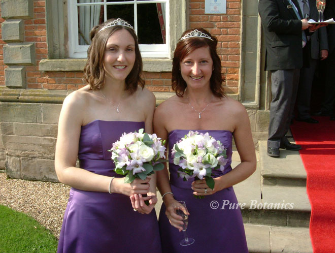 Bridesmaids holding ivory and lilac bouquets outside the enterance to Ansty Hall.