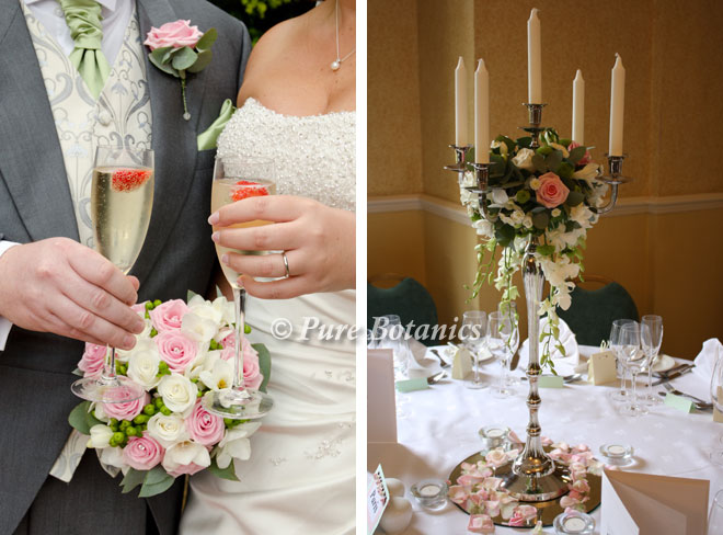 Summer wedding flowers featuring ivory and pale pink roses.