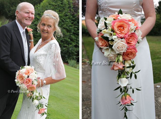 Cascading bridal bouquets with peach Miss Piggy roses.