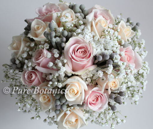 silver and pastels coloured wedding flowers