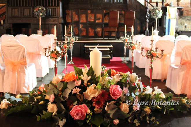 Setting up the civil ceremony flowers at Coombe Abbey, Coventry.