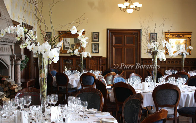 Phalaenopsis orchid centrepieces for a winter wedding in the Mansion at Wroxall Abbey.