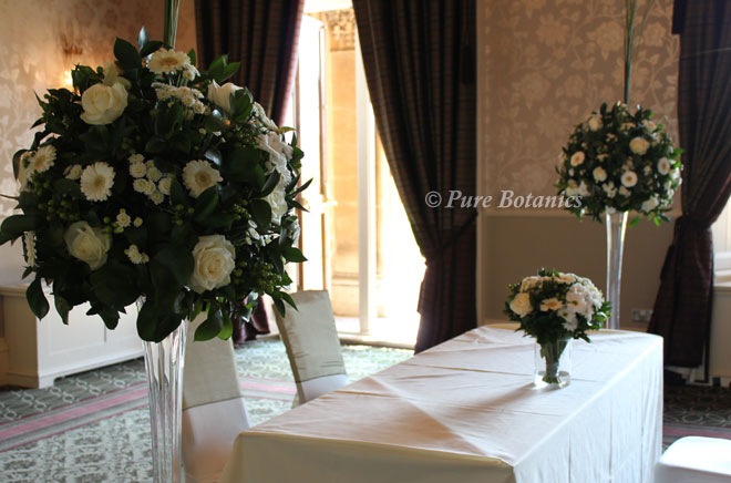 Ivory gerbera and rose wedding flowers at walton hall