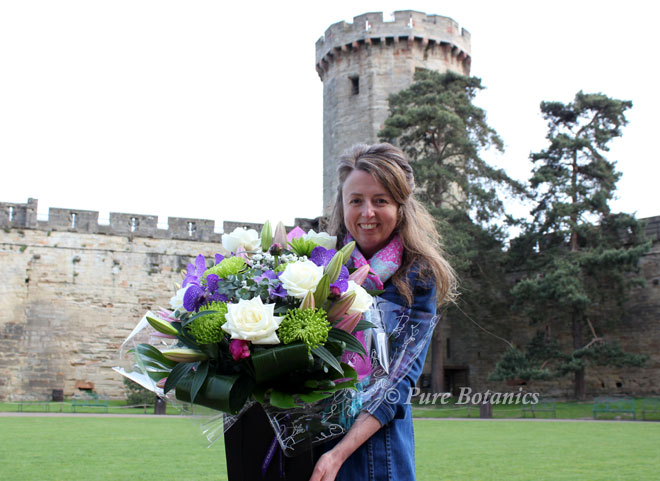 Delivering thank you wedding bouquets to Warwick Castle.