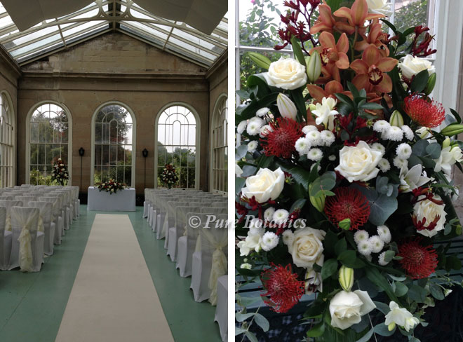 Stoneleigh abbey ceremony flowers in the orangery.