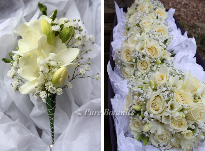Wedding corsages and bouquets featuring gypsophila.