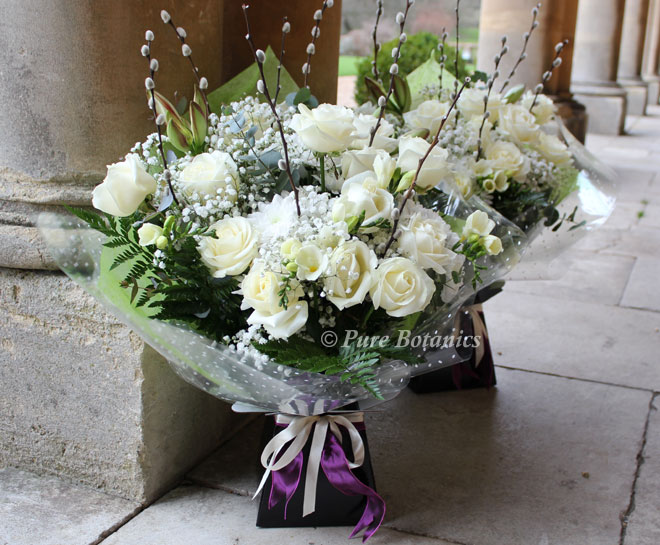 Ivory rose and gypsophila thank you bouquets.