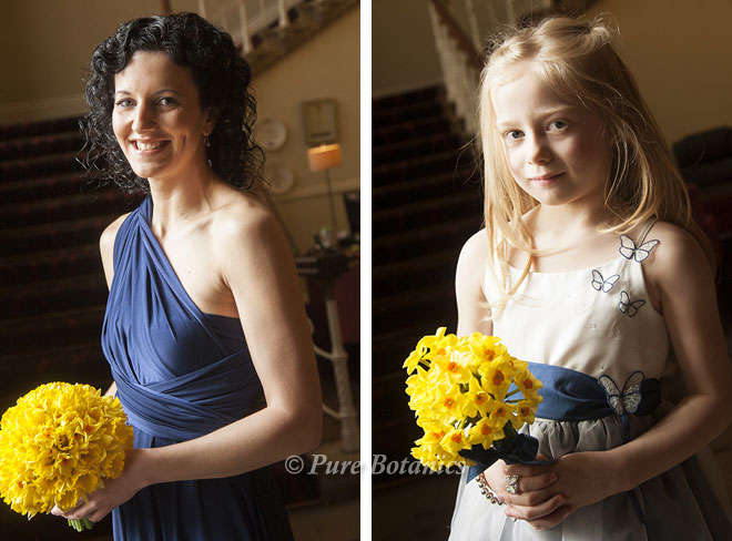 Posy bouquets made with yellow daffodils.