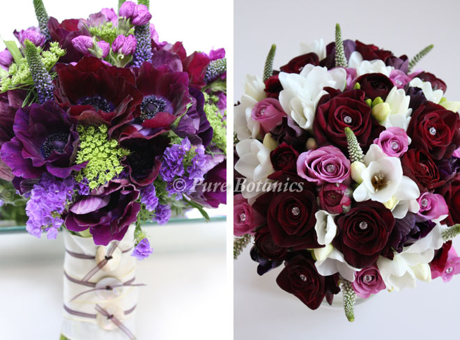 Spring wedding bouquets featuring anemones, ranunculus and freesias.