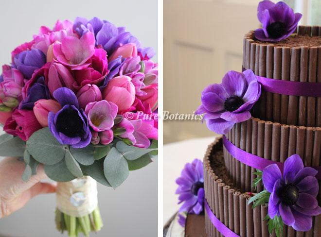 Purple anemone wedding flowers.