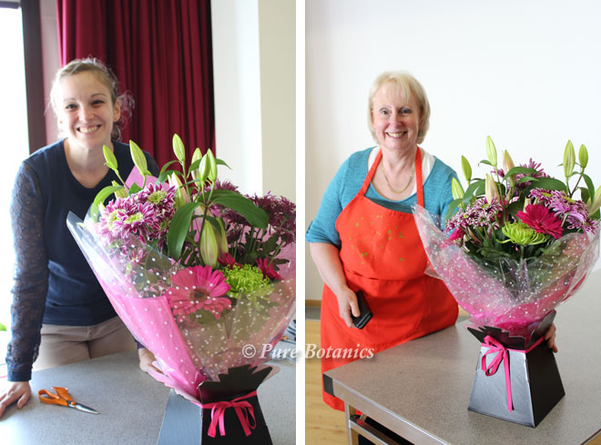 Making aqua packed bouquets at the floristry workshop in Warwickshire.