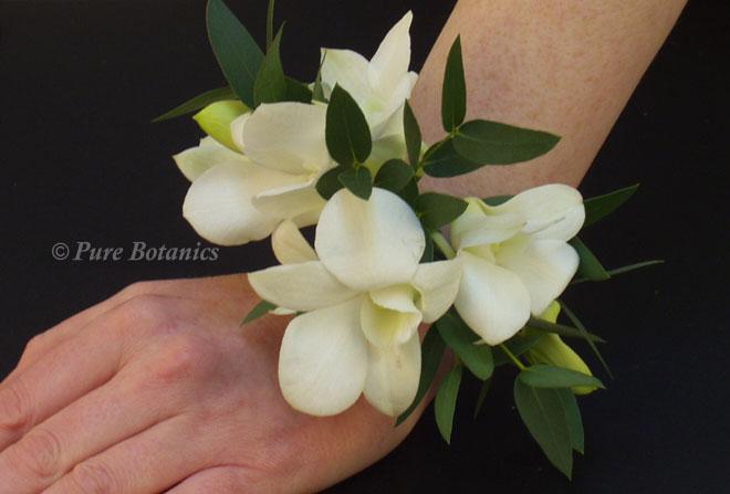 Singapore orchid wrist corsage.