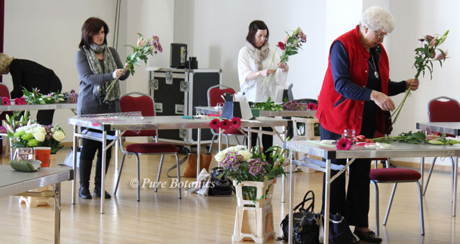 Students on the flower masterclass at Warwick university.