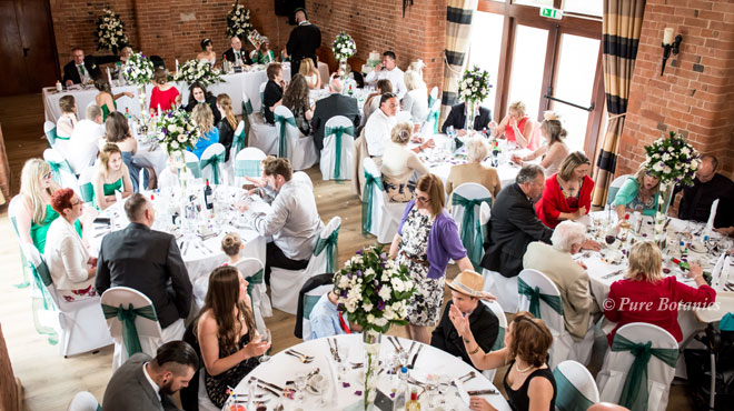 Birds eye view of the wedding table decorations, Stratford-Upon-Avon
