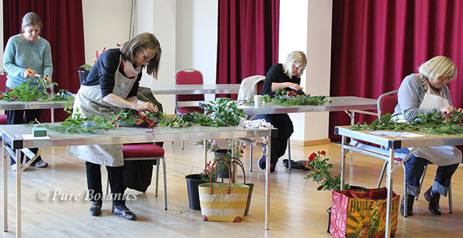 Flower wreath workshop at Warwick Arts Centre.