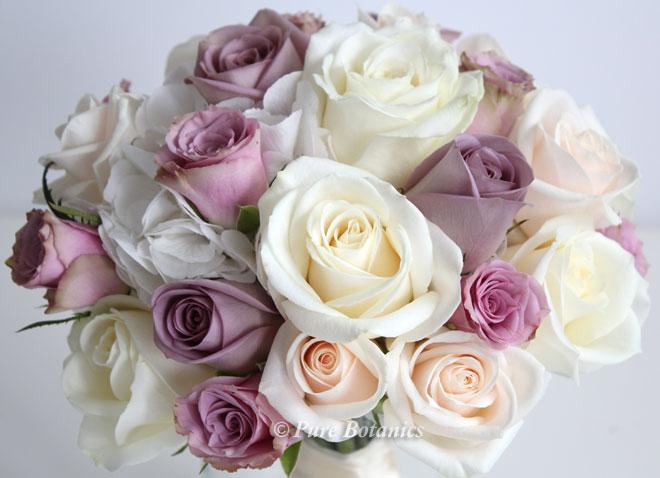 dusky pink, cream and soft peach rose bridal bouquet.