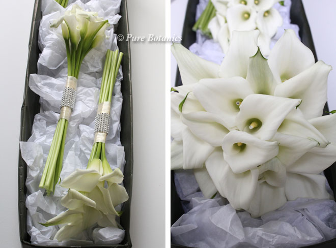 Calla lily bridal bouquets with diamante detailing.