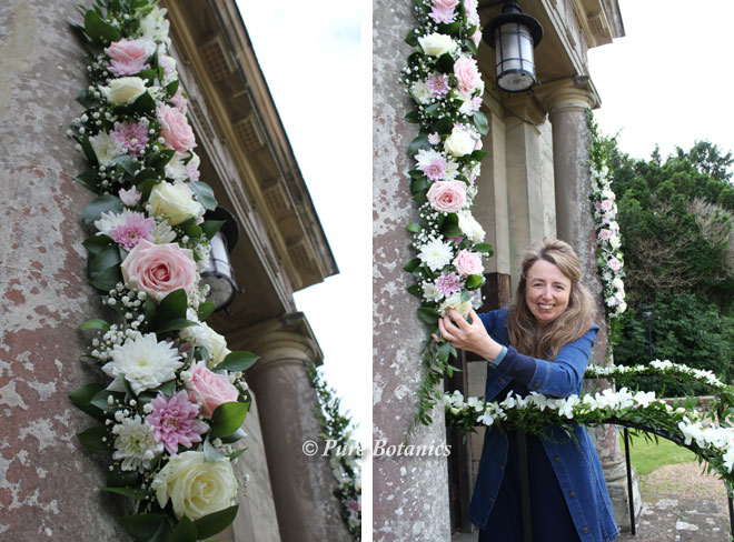 Creating a pastel rose flower arch on the church at Walton, Warwickshire.