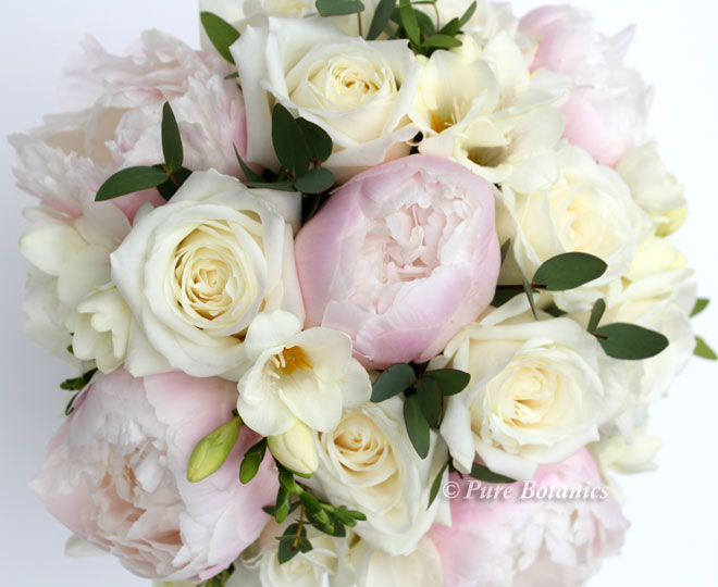 blush pink peony and ivory rose bridal bouquet.