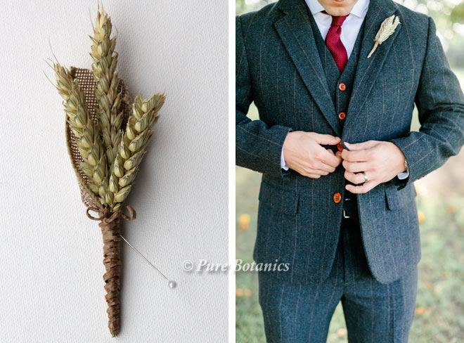 Buttonhole featuring wheat for an outside autumn wedding.