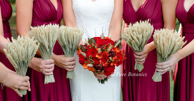 Autumn posy bouquets for an outdoor wedding in the countryside.