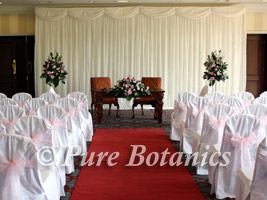 Civil ceremony set up for a wedding at Welcombe Hotel, Stratford upon Avon
