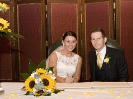 bride and groom at civil wedding ceremony ettington