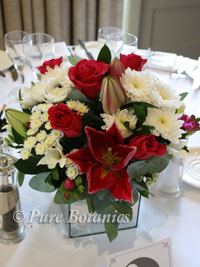 low pink and white flower centrepiece on wedding reception table